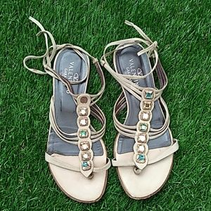Valentino Stone Embellished Lace Up Sandals